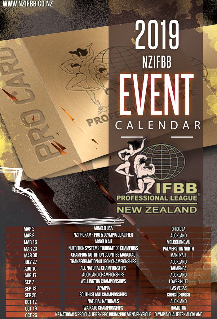 IFBB PRO LEAGUE NEW ZEALAND 2019 CALENDAR
