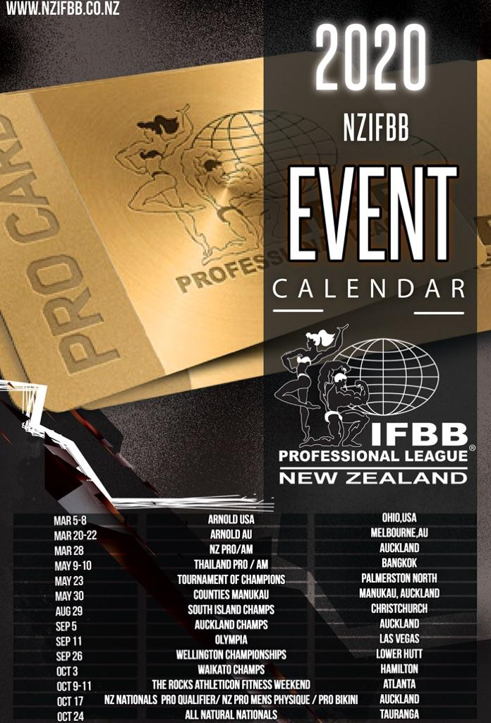 IFBB PRO LEAGUE NEW ZEALAND 2020 CALENDAR