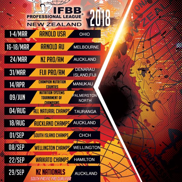 IFBB PRO LEAGUE NEW ZEALAND 2018 CALENDAR
